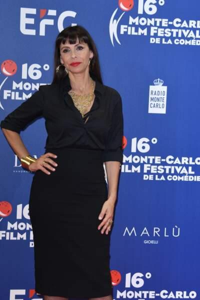 Mathilda May a attiré les regards au Festival du Film de Monte Carlo, le 10 mars 2019.