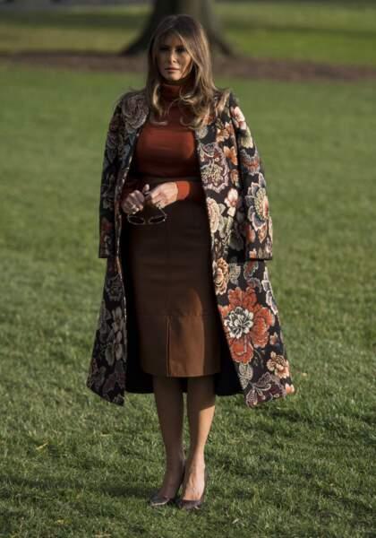 Melania Trump dans le jardin de la Maison Blanche