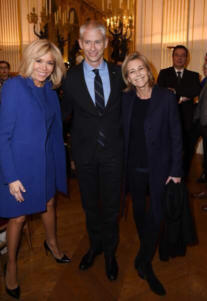 Brigitte Macron, le ministre de la Culture Franck Riester et Claire Chazal à Paris