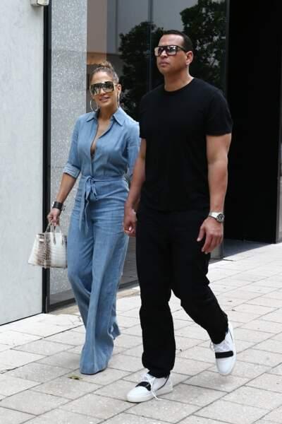 Jennifer Lopez une silhouette musclée et sexy avec son fiancé Alex Rodriguez