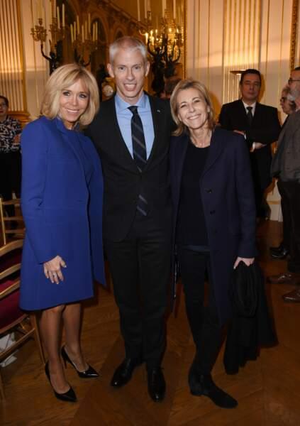 Brigitte Macron, Franck Riester et Claire Chazal le 6 février