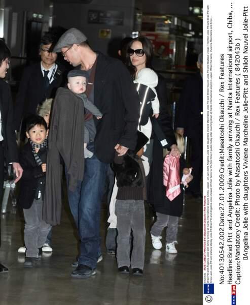 Première apparition publique des jumeaux, alors âgés de 6 mois, au Japon, en janvier 2009.