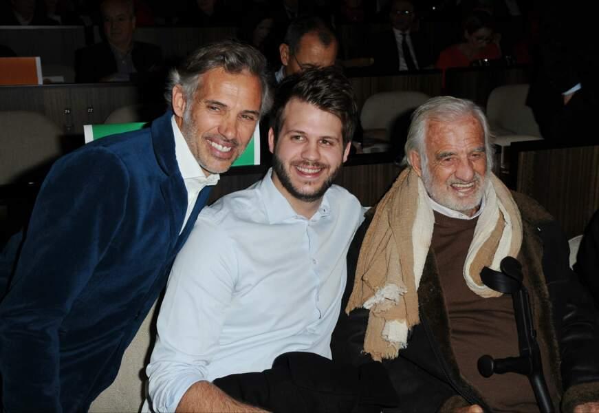 Jean-Paul Belmondo aux côtés de son fils Paul et de son petit-fils Alessandro