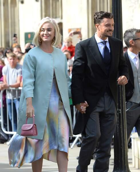Les amoureux Katy Perry et Orlando Bloom au mariage d'Ellie Goulding, à Londres, le 31 août 2019.