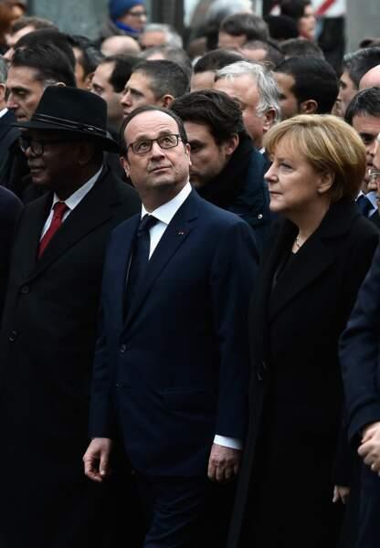 François Hollande et Angela Merkel en tête du cortège présidentiel