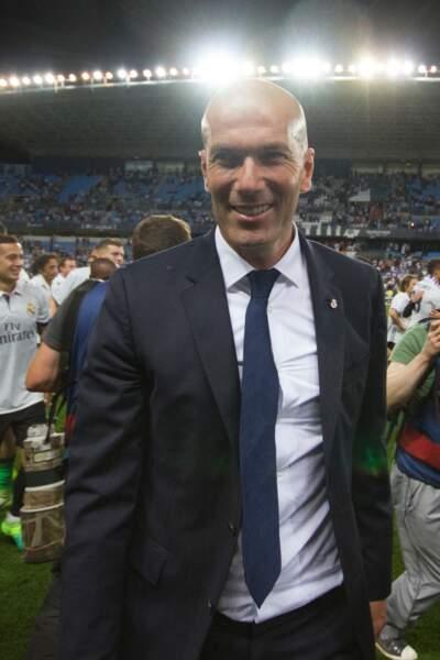 Zinédine Zidane lors du sacre du Réal Madrid, champion d'Espagne 2017, après son match contre Malaga le 21 mai 2017