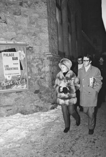 Romy Schneider et Harry Meyen à Saint Moritz en 1969