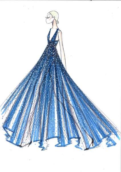 La robe Dior de Chiara Ferragni a été dessinée d'une main de maitre. Du rêve à la réalité...