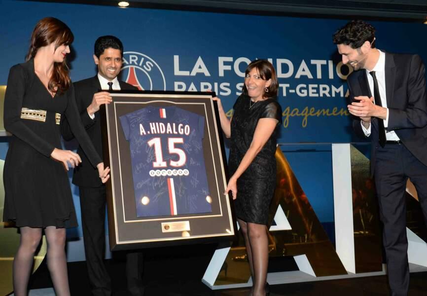 Nasser Al-Khelaifi , Anne Hidlago et Alexandre Ruiz (journaliste Be in Sport)