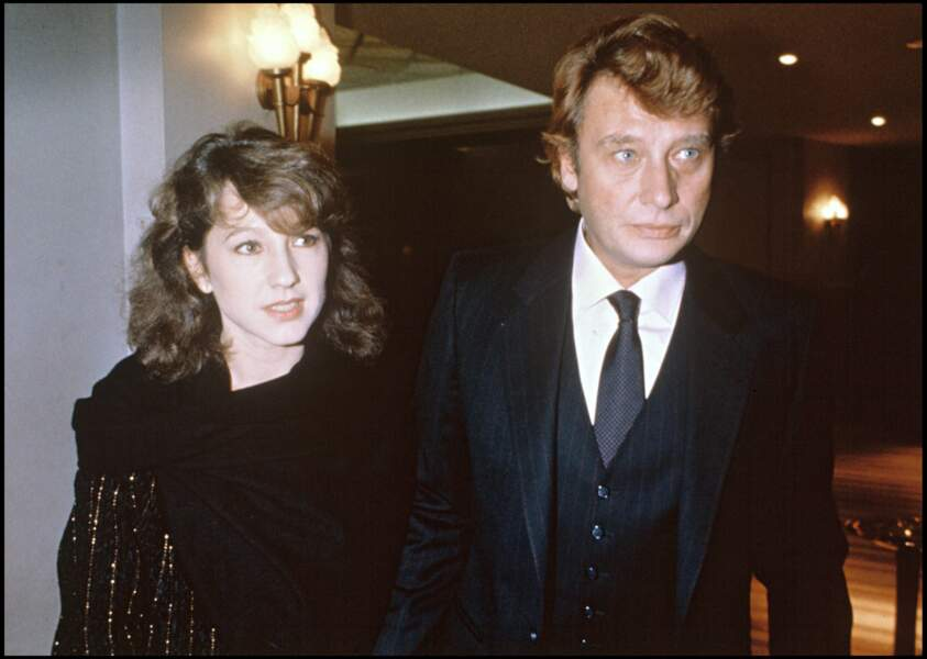 Nathalie Baye et Johnny Hallyday en 1983 à l'avant première de Le Luron à Paris