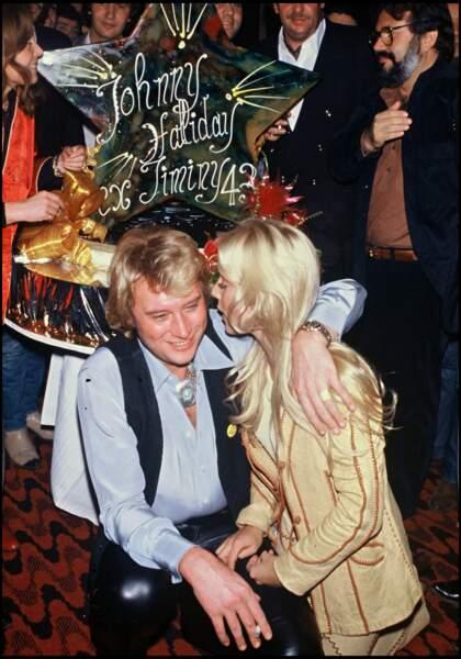 Sylvie Vartan et Johnny Hallyday le soir de son derner concert de sa tournée en 1979