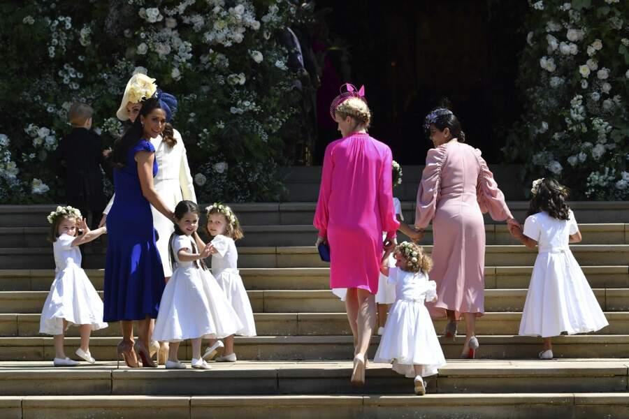 Kate Middleton et Jessica Mulroney devant la chapelle St George pour le mariage d'Harry et Meghan le 19 mai 2018