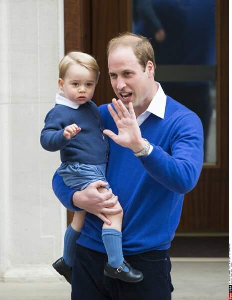 Prince George le jour de la naissance de sa soeur, Princesse Charlotte (2 mai 2015)