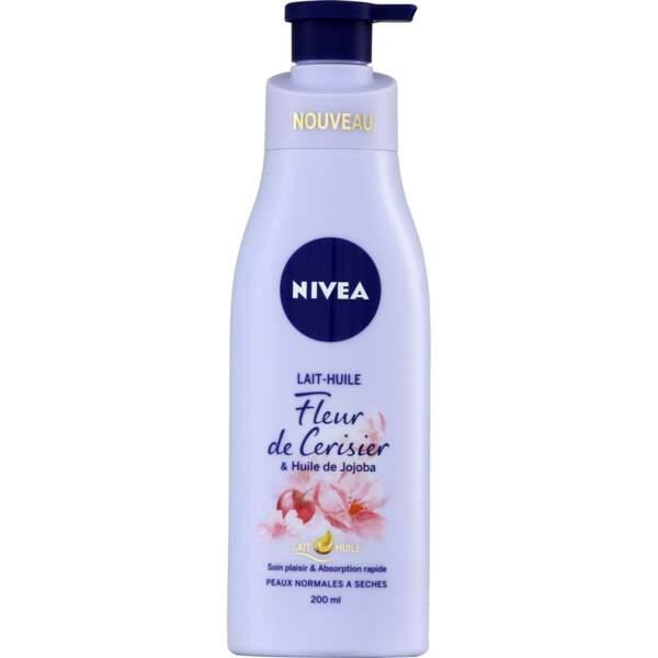 Lait- huile fleur de cerisier et huile de jojoba, Nivea, 4,15 €