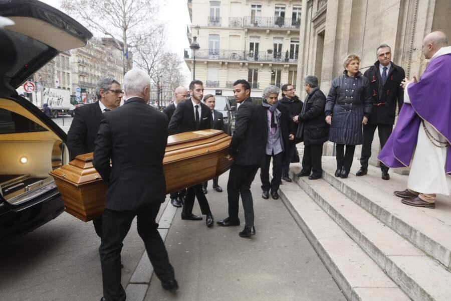 De nombreux invités aux obsèques de Henry Chapier en l'église Notre-Dame des Champs à Paris le 4 février 2019