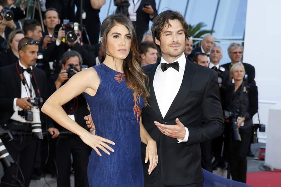 Nikki Reed et son mari Ian Somerhalder sur le tapis rouge à Cannes en 2015