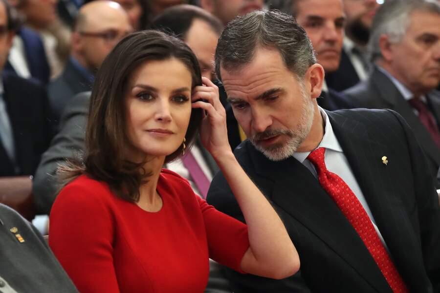 Letizia d'Espagne, lors des Sports National Awards, à Madrid, le 10 janvier 2019