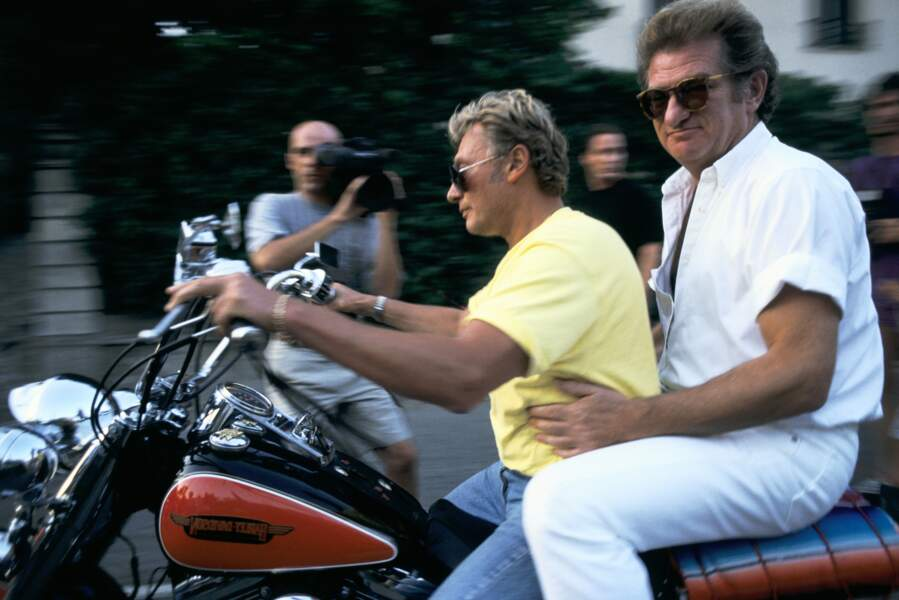 Johnny Hallyday et Eddy Mitchell, en 1990