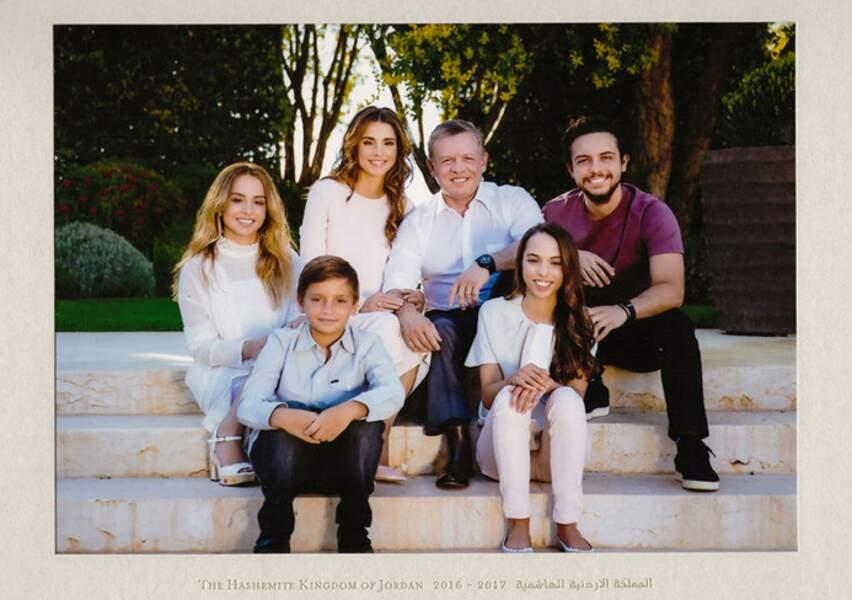 La reine Rania de Jordanie, le roi Abdullah II et leurs enfants