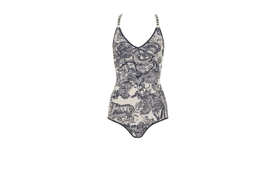 La toile de Jouy s'empare aussi du maillot une pièce, la tendance maillot de l'été 2019 by Dior.