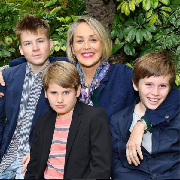 Sharon Stone avec ses trois fils