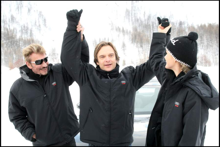 Johnny, David Hallyday et Laeticia à Val d'Isère en 2008