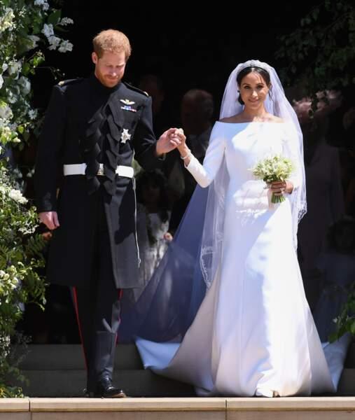 Le prince Harry et Meghan Markle à la sortie de la chapelle St. George. Après la cérémonie de mariage.