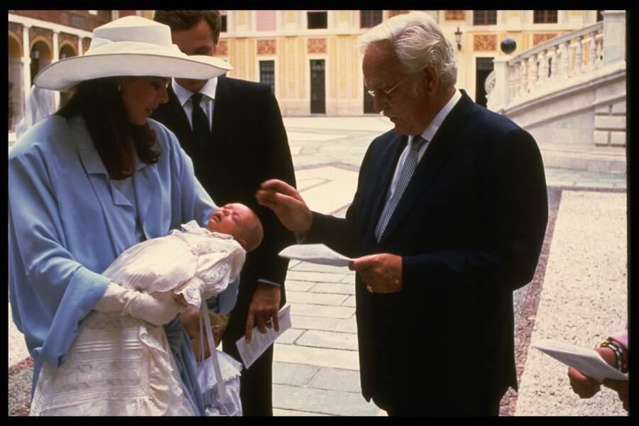 Caroline de Monaco, Stefano Casiraghi et le prince Rainier, lors du baptême de Charlotte, 20 septembre 1986