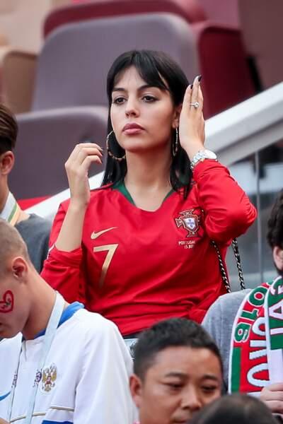 Georgina Rodriguez lors du match Portugal / Maroc le 20 juin 2018.