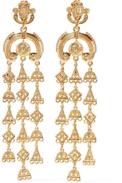 Boucles d'oreilles clip dorées Ornate, Oscar de la Renta, 325€