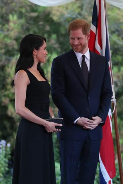 Le prince Harry et Meghan Markle lors d'une réception à la Glencairn House à Dublin, le 10 juillet 2018