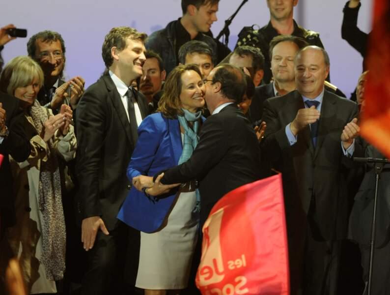 Francois Hollande célèbre sa victoire à l'élection présidentielle le 6 Mai 2012