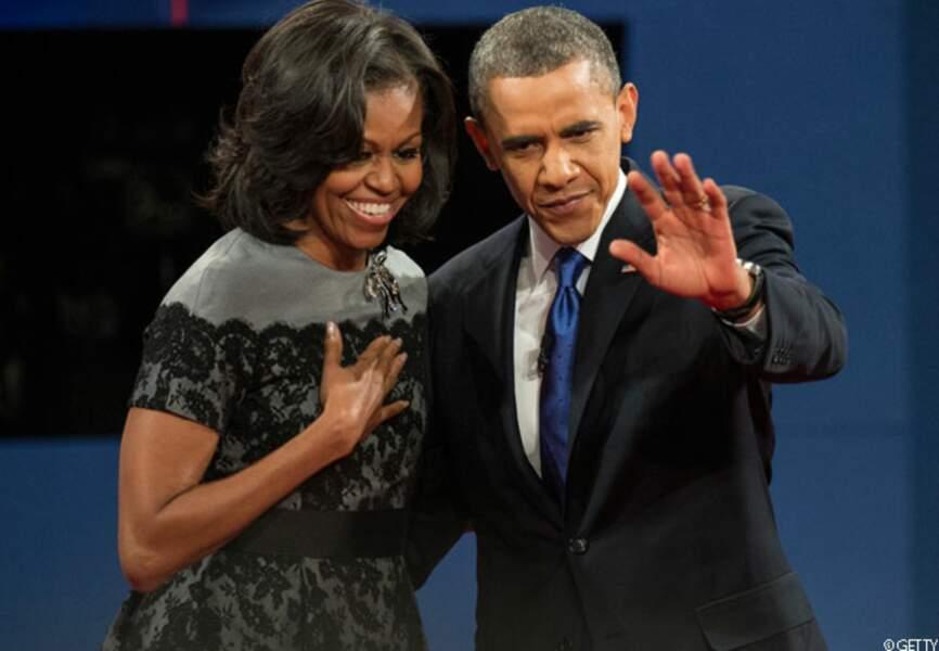 Barack et Michelle soulagés après son troisième débat à Boca, Floride, le 22 octobre 2012