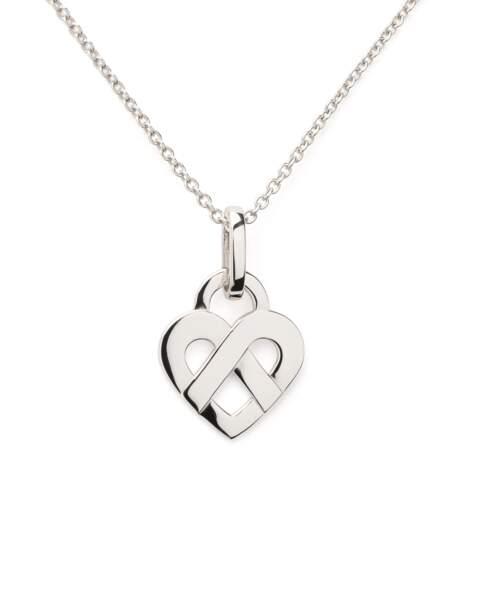 Pendentif coeur enlacée en or blanc Poiray 2980€