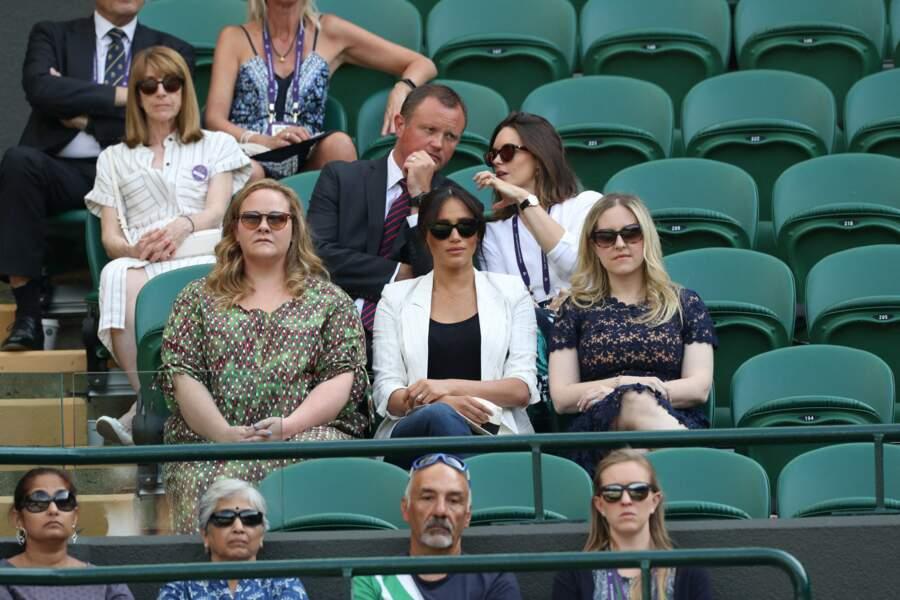 Meghan Markle et ses amies ont porté chance à Serena Williams à Wimbledon, le 4 juillet 2019.