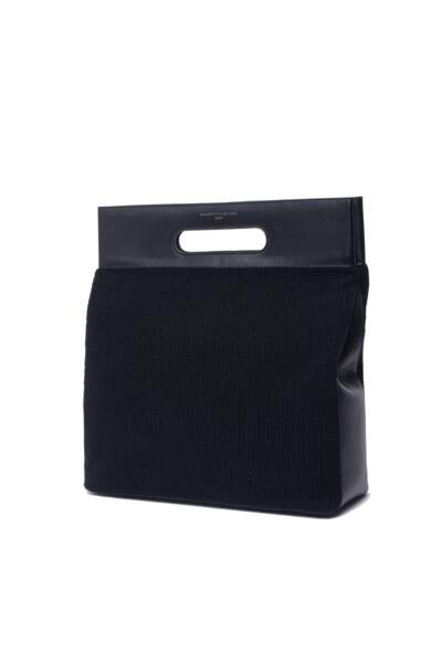 Bimatière, sac en cuir et en cachemire, 295 € (Majestic Filatures).