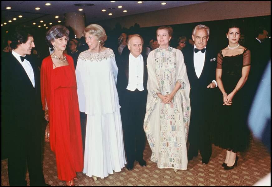 Caroline de Monaco et son premier mari Philippe Junot, aux côtés de Rainier et Grace de Monaco, en février 1978