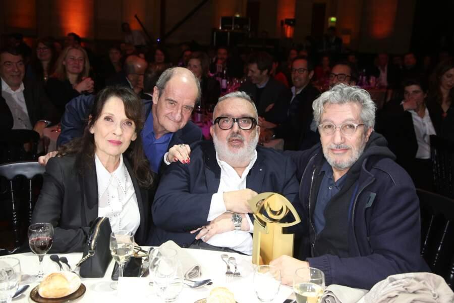 Pierre Lescure, Chantal Lauby, Dominique Farrugia et Alain Chabat lors des Trophées du film français le 5 février