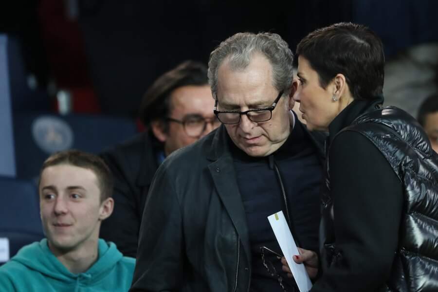 Cristina Cordula et son homme dans les tribunes du Parc des Princes à Paris