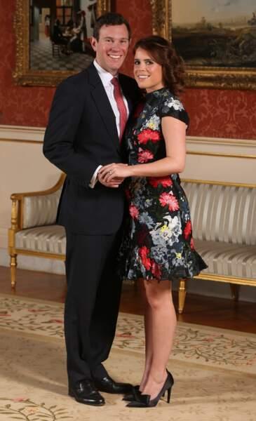 La princesse Eugenie et son fiancé Jack Brooksbank au palais de Buckingham à Londres le 22 janvier 2018