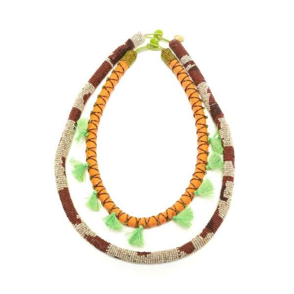MASSAI, collier brodées à la main et pampilles. Malliparmi, 145 €.