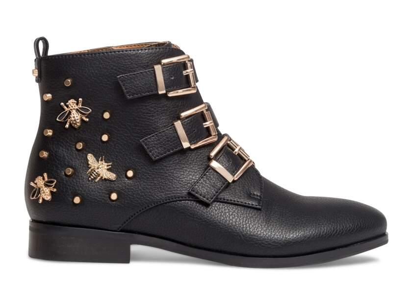 Boots en cuir synthétique et détails bijoux Eram Automne / Hiver 2017-2018  - soldées 37,50€ au lieu de 75€