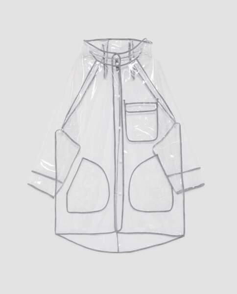 Tombe la pluie, trench transparent Zara, 39,95 € (zara.com)