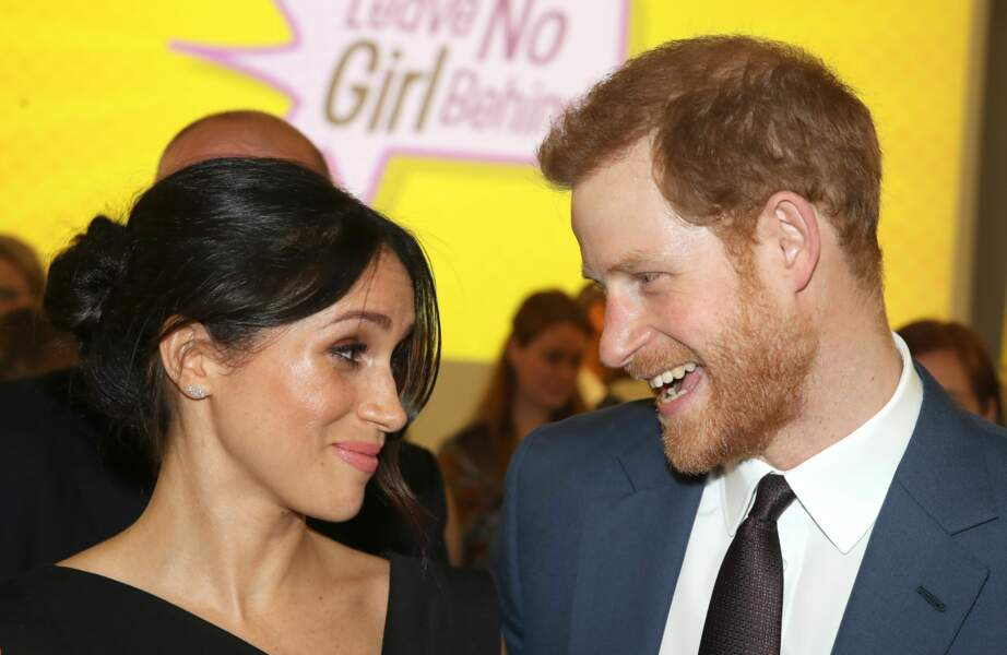 Le prince Harry et Meghan Markle lors de la réception women's empowerment, à Londres, le 19 avril 2018.