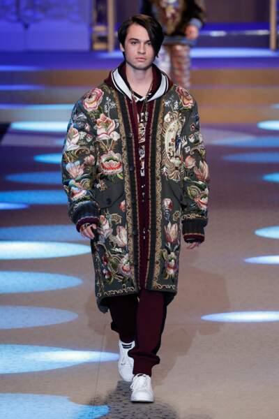 Dylan Jagger Lee défile pour Dolce & Gabbana à la Fashion Week de Milan le 13 janvier 2018