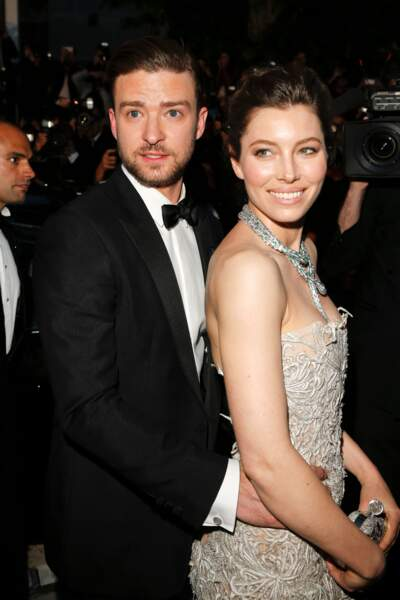 "Justin Timberlake et Jessica Biel lors de la descente des marches du film ""Inside Llewyn Davis"" en 2013"