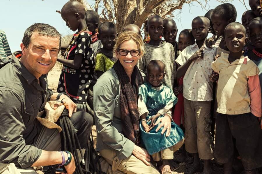 "Julia Roberts participe à l'émission ""Running Wild With Bear Grylls"" en mai 2017"