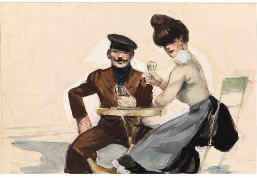Couple drinking, 1906-1907
