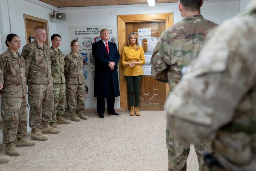 Melania et Donald Trump en Irak pour rendre visite aux soldats américains, le 26 décembre 2018
