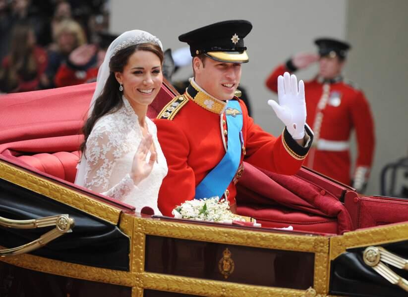 Le Prince William et Kate Middleton, lors de leur mariage à Londres en 2011